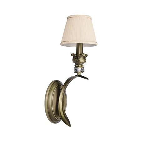 Бра Lightstar Antique 783611, 1xE14x40W, бронза, бежевый, металл с хрусталем, текстиль