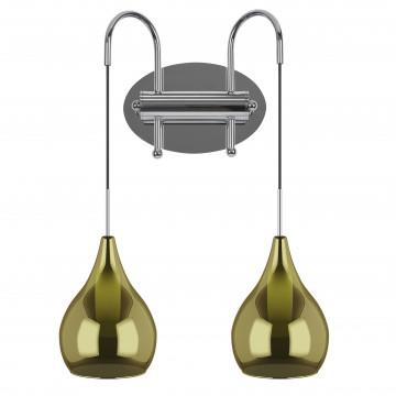 Бра Lightstar Pentola 803838, 2xG9x25W, хром, зеленый, металл, стекло