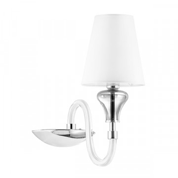 Бра Lightstar Otto 809616, 1xE14x40W, хром, белый, дымчатый, стекло, текстиль