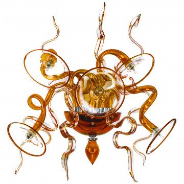 Бра Lightstar Ricciolo 894653, 5xG4x20W, коньячный, прозрачный, хром, стекло