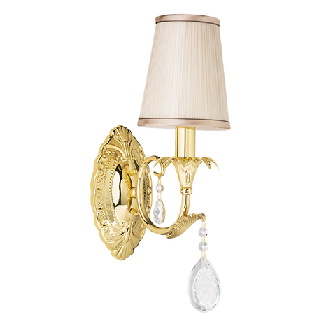 Бра Lightstar Osgona Cappa 691612, 1xE14x40W, золото, бежевый, прозрачный, металл, текстиль, хрусталь