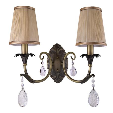 Бра Lightstar Osgona Cappa 691621, 2xE14x40W, бронза, коричневый, прозрачный, металл, текстиль, хрусталь