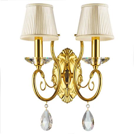 Бра Lightstar Osgona Ricerco 693622, 2xE14x40W, золото, белый, прозрачный, металл с хрусталем, текстиль, хрусталь