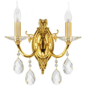 Бра Lightstar Osgona Stregaro 694622, 2xE14x60W, золото, прозрачный, металл с хрусталем, хрусталь