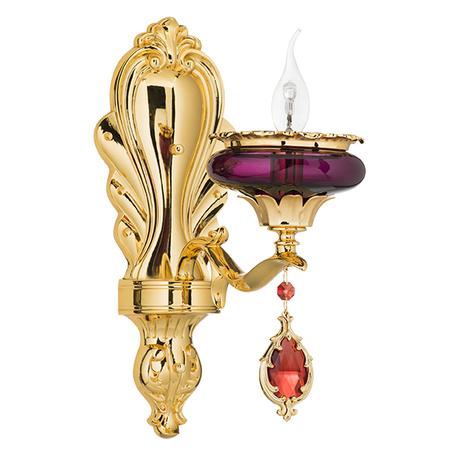 Бра Lightstar Osgona Melagro 695612, 1xE14x60W, золото, фиолетовый, красный, металл, стекло, хрусталь