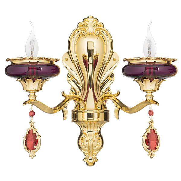 Бра Lightstar Osgona Melagro 695622, 2xE14x60W, золото, фиолетовый, красный, металл, стекло, хрусталь - фото 1