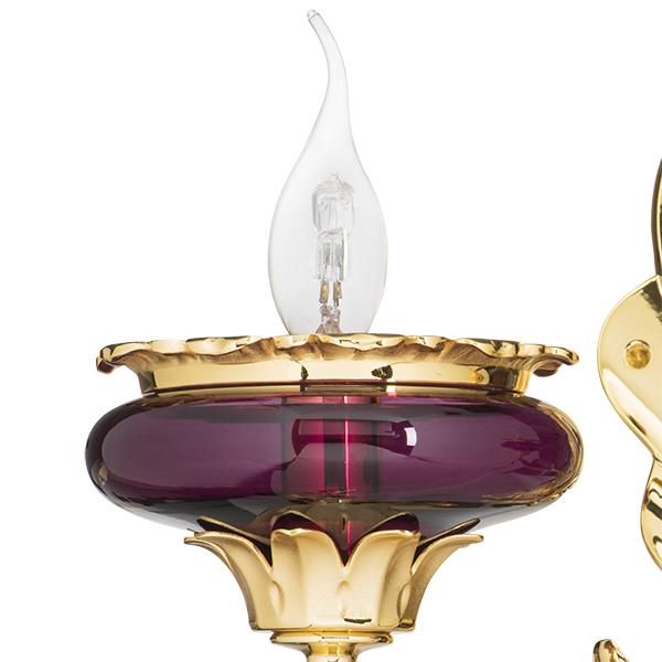 Бра Lightstar Osgona Melagro 695622, 2xE14x60W, золото, фиолетовый, красный, металл, стекло, хрусталь - фото 2