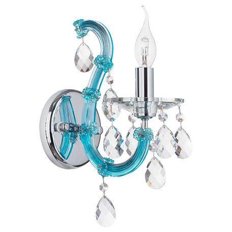 Бра Lightstar Osgona Champa Blu 698615, 1xE14x60W, голубой, прозрачный, стекло, хрусталь