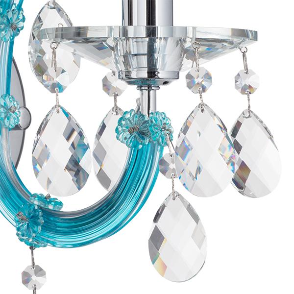 Бра Lightstar Osgona Champa Blu 698615, 1xE14x60W, голубой, прозрачный, стекло, хрусталь - фото 4