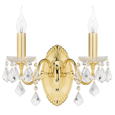 Бра Lightstar Osgona Classic 700622, 2xE14x60W, золото, прозрачный, металл с хрусталем, хрусталь