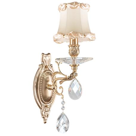 Бра Lightstar Osgona Fiocco 701611, 1xE14x40W, матовое золото, бежевый, прозрачный, металл с хрусталем, текстиль, хрусталь