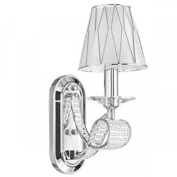 Бра Lightstar Osgona Riccio 705614, 1xE14x40W, хром, белый, металл с хрусталем, пластик