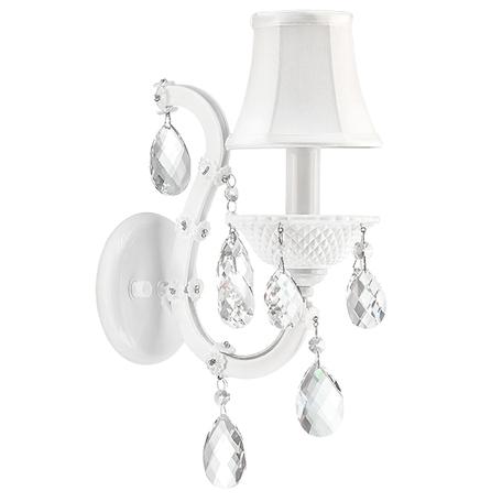 Бра Lightstar Osgona Princia 726611, 1xE14x40W, белый, прозрачный, металл со стеклом, текстиль, хрусталь