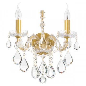 Бра Lightstar Osgona Champa 775623, 2xE14x60W, матовое золото, прозрачный, стекло, хрусталь