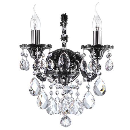 Бра Lightstar Osgona Champa Nero 879627, 2xE14x60W, черный, черный хром, прозрачный, стекло, хрусталь