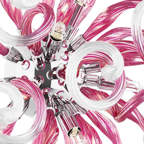 Настенный светильник Lightstar Medusa 890652, 5xG9x40W, хром, розовый, металл, стекло - фото 2