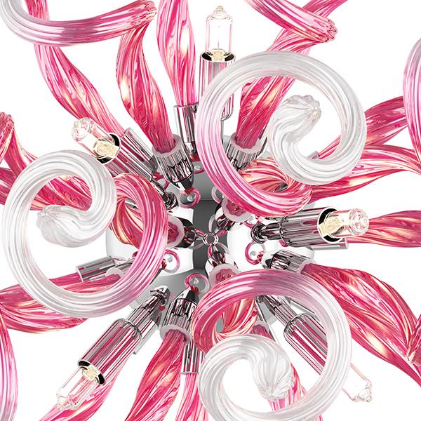 Настенный светильник Lightstar Medusa 890652, 5xG9x40W, хром, розовый, металл, стекло - фото 5