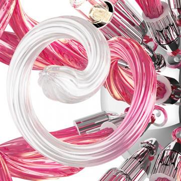 Настенный светильник Lightstar Medusa 890652, 5xG9x40W, хром, розовый, металл, стекло - миниатюра 7