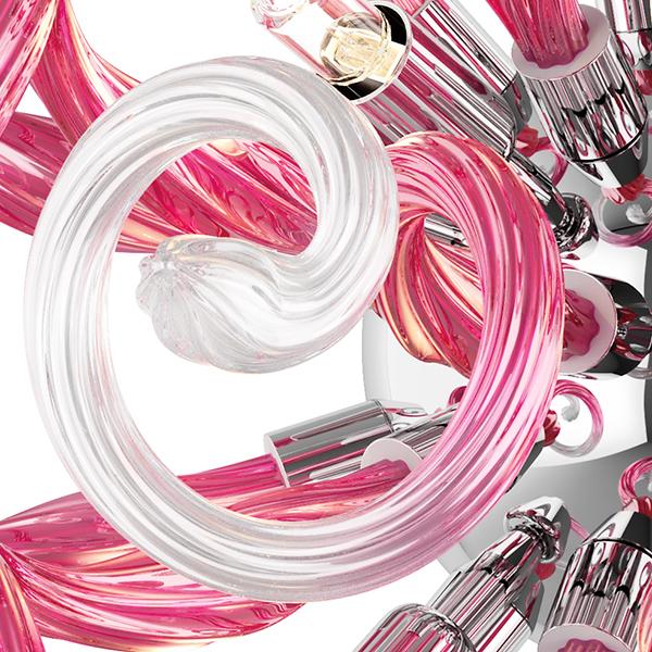 Настенный светильник Lightstar Medusa 890652, 5xG9x40W, хром, розовый, металл, стекло - фото 7