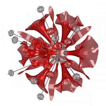 Настенный светильник Lightstar Celesta 893622, 6xG9x6W, хром, красный, металл, стекло - миниатюра 3