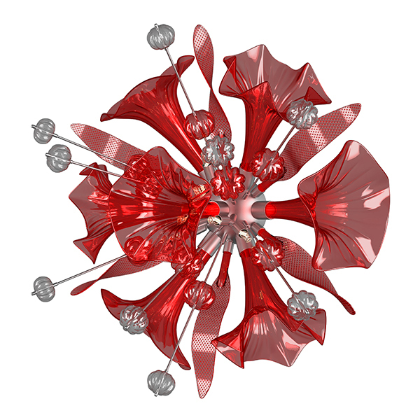Настенный светильник Lightstar Celesta 893622, 6xG9x6W, хром, красный, металл, стекло - фото 3