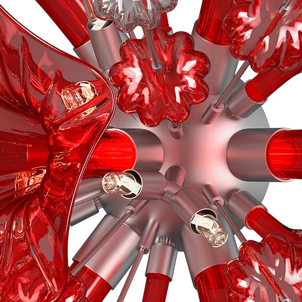 Настенный светильник Lightstar Celesta 893622, 6xG9x6W, хром, красный, металл, стекло - фото 6