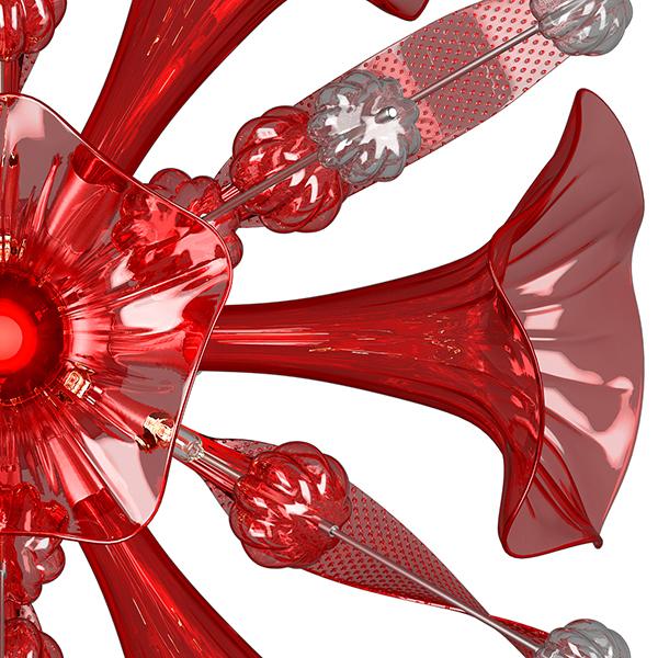 Настенный светильник Lightstar Celesta 893622, 6xG9x6W, хром, красный, металл, стекло - фото 7