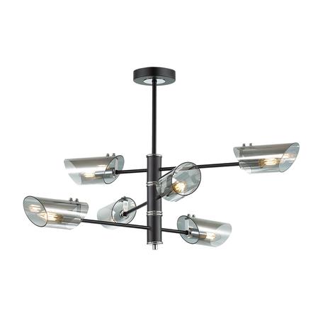 Потолочная люстра Lumion Nolan 4402/6C, хром, черный, дымчатый, металл, стекло