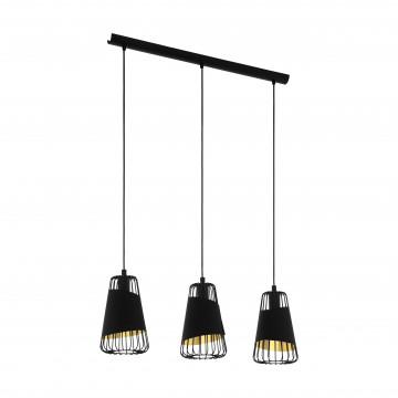 Подвесной светильник Eglo Trend & Vintage Loft Austell 49448, 3xE27x60W, черный, металл, металл с текстилем, текстиль с металлом