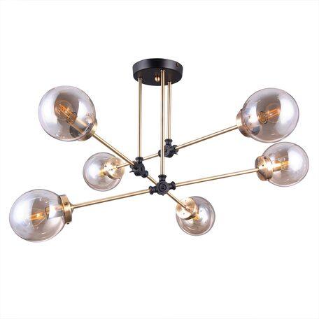 Потолочная люстра с регулировкой направления света Citilux Планета CL105165, 6xE14x20W, венге, бронза, янтарь, металл, стекло