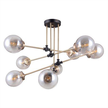 Потолочная люстра с регулировкой направления света Citilux Планета CL105185, 8xE14x20W, венге, бронза, янтарь, металл, стекло