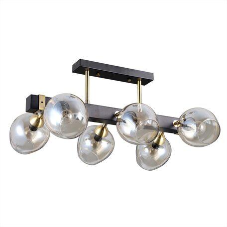 Потолочная люстра с регулировкой направления света Citilux Болеро CL118165, 6xE14x40W, венге, янтарь, дерево, стекло