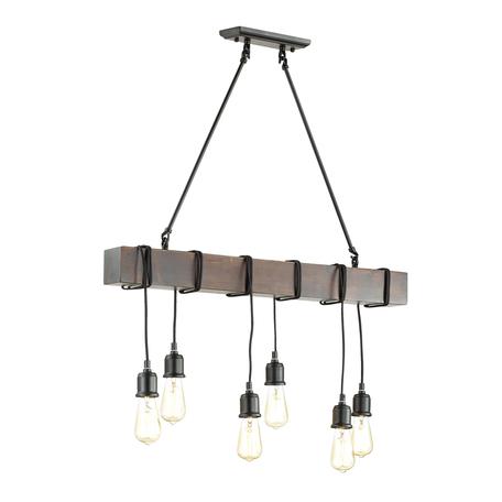 Подвесной светильник Lumion Lofti Klaus 3740/6, 6xE27x60W, черный, коричневый, металл, дерево