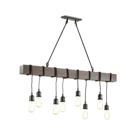 Подвесной светильник Lumion Lofti Klaus 3740/8, 8xE27x60W, черный, коричневый, металл, дерево
