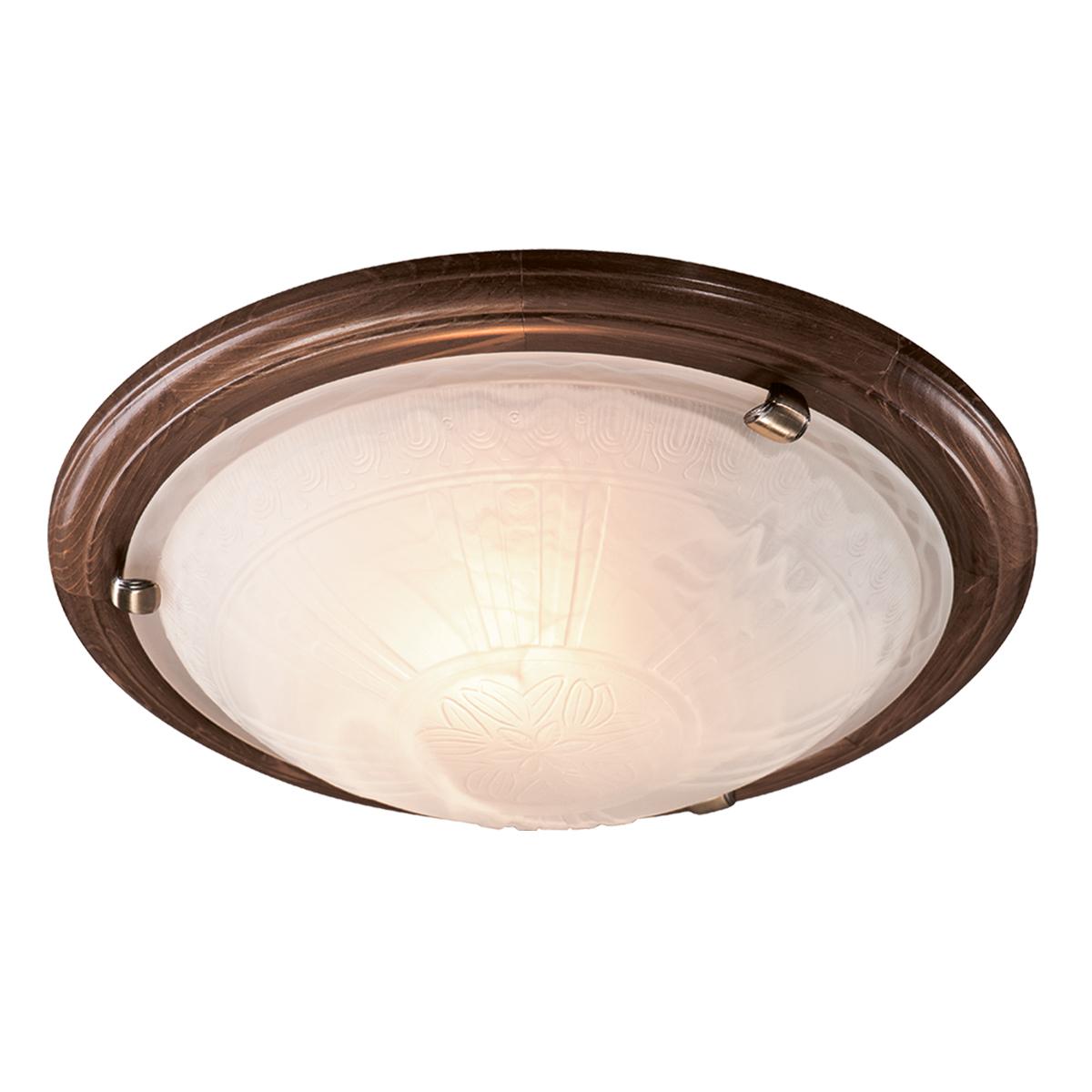 Настенно-потолочный светильник Сонекс 136/K Lufe Wood, тёмный орех, белый матовый - фото 1