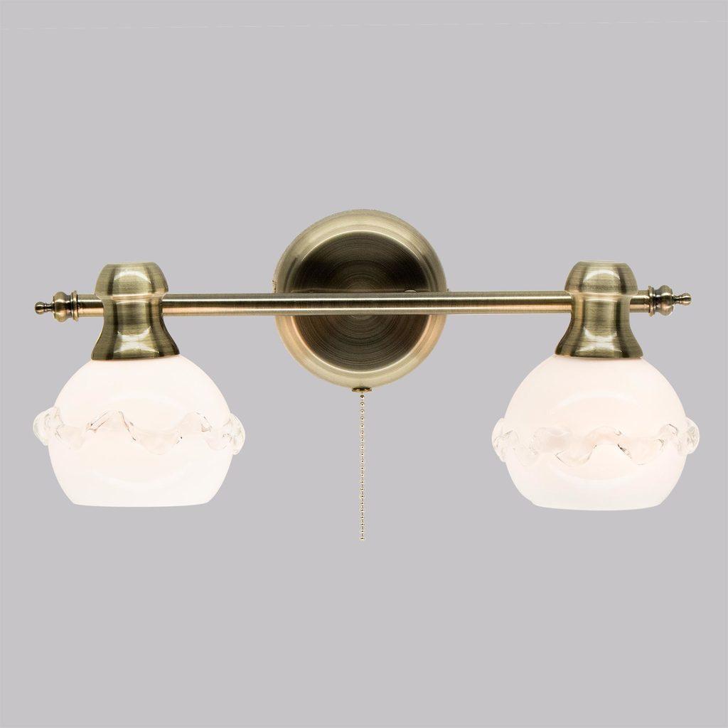 Настенный светильник с регулировкой направления света Citilux Кампана CL540521, 2xE14x60W, бронза, белый, металл, стекло - фото 2