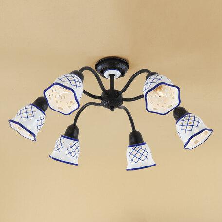 Потолочная люстра Citilux Ажур CL534161, 6xE14x60W, черный, синий, металл, стекло