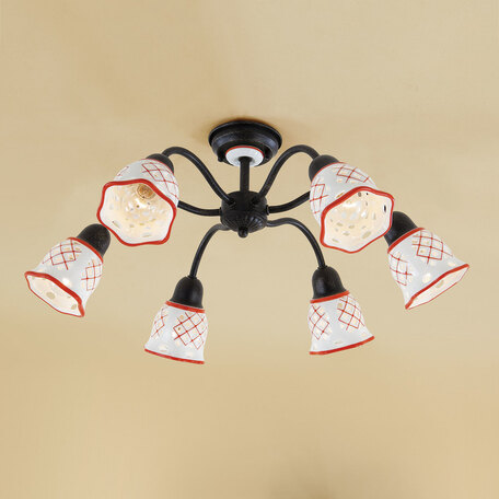Потолочная люстра Citilux Ажур CL534163, 6xE14x60W, черный, красный, металл, стекло