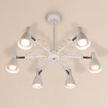 Потолочная люстра с регулировкой направления света Citilux Дункан CL529162, 6xE14x60W, белый с золотой патиной, металл