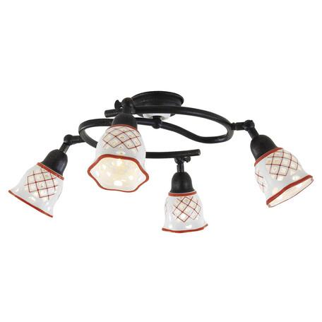 Потолочная люстра Citilux Ажур CL534543, 4xE14x60W, черный, красный, металл, стекло