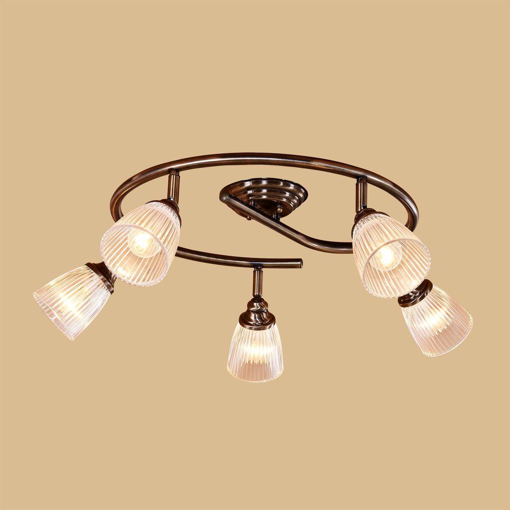 Потолочная люстра с регулировкой направления света Citilux Виндзор CL539551, 5xE14x60W, бронза, белый, металл, стекло - фото 2