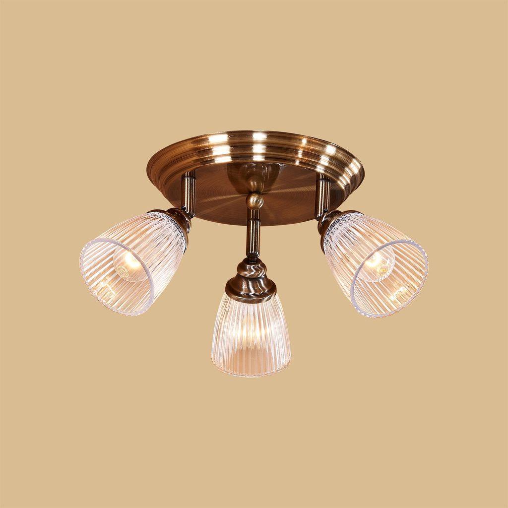 Потолочная люстра с регулировкой направления света Citilux Виндзор CL539631, 3xE14x60W, бронза, белый, металл, стекло - фото 2