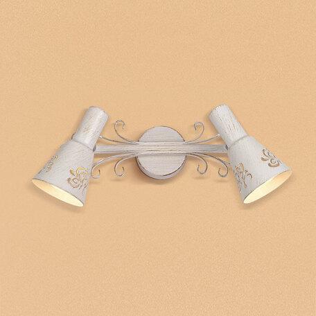 Настенный светильник с регулировкой направления света Citilux Дункан CL529522, 2xE14x60W, белый с золотой патиной, металл
