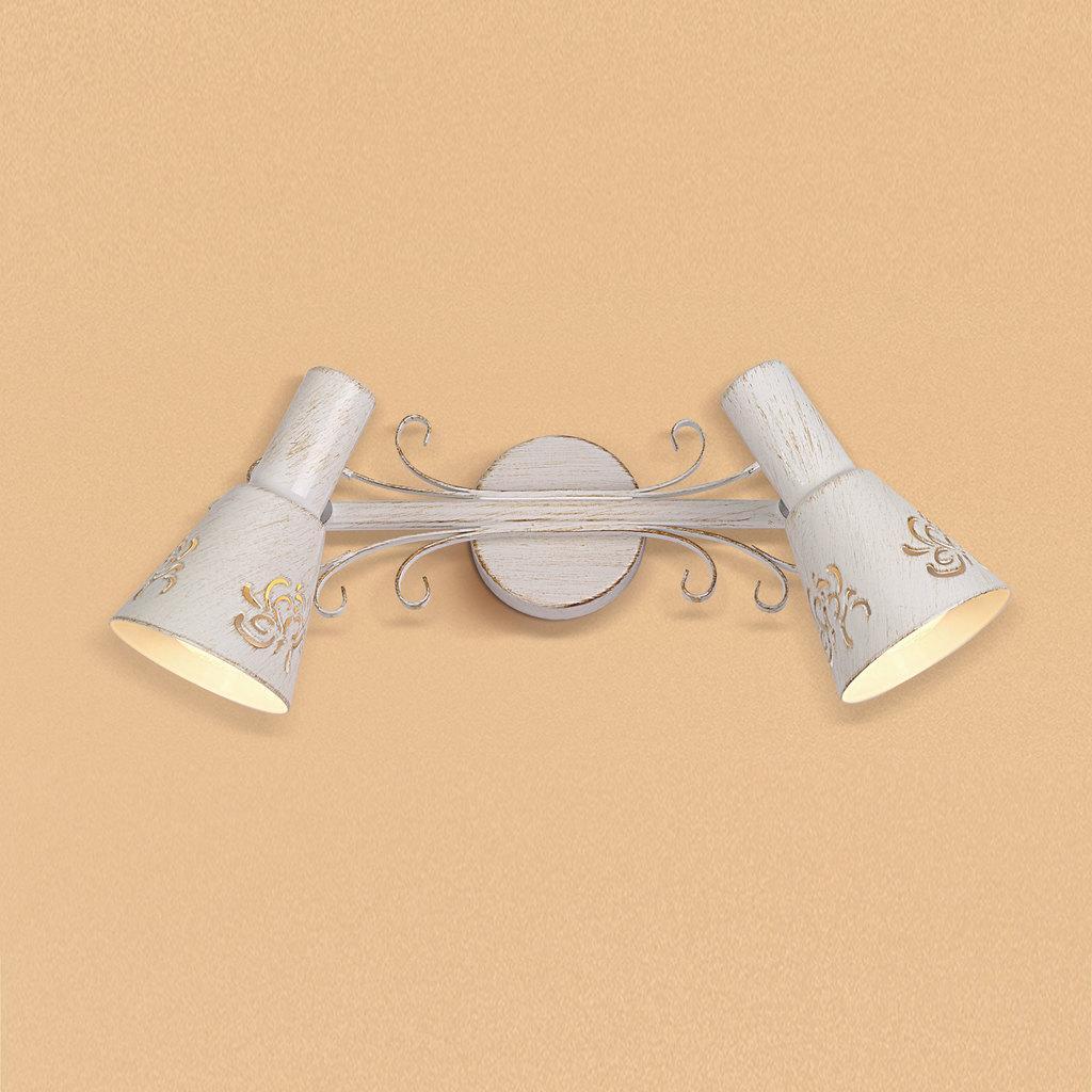 Настенный светильник с регулировкой направления света Citilux Дункан CL529522, 2xE14x60W, белый с золотой патиной, металл - фото 1
