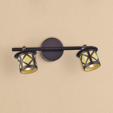 Настенный светильник с регулировкой направления света Citilux Гессен CL536521, 2xGU10x50W, венге, янтарь, металл, металл с пластиком