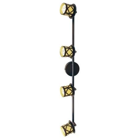 Потолочный светильник с регулировкой направления света Citilux Гессен CL536541, 4xGU10x50W, венге, янтарь, металл, металл с пластиком