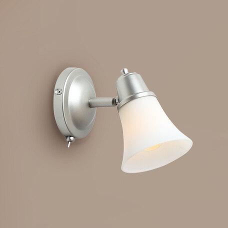 Настенный светильник с регулировкой направления света Citilux Классик CL560511, 1xE14x60W, серебро, белый, металл, стекло
