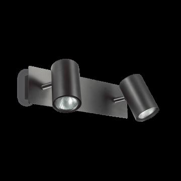 Потолочный светильник с регулировкой направления света Ideal Lux SPOT AP2 NERO 156743, 2xGU10x50W, черный, металл