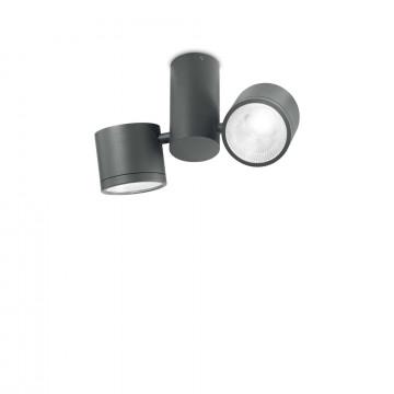 Потолочный светодиодный светильник с регулировкой направления света Ideal Lux SUNGLASSES PL ANTRACITE 161846 (SUNGLASSES PL2 ANTRACITE), IP44, LED 14W 4000K 1120lm, темно-серый, металл, пластик