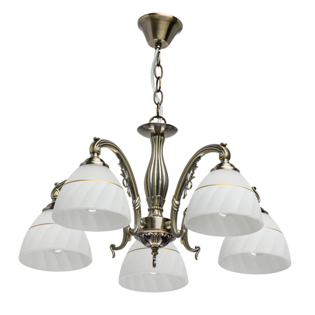 Подвесная люстра De City Ариадна 450018905, 5xE27x40W, бронза, белый, металл, стекло